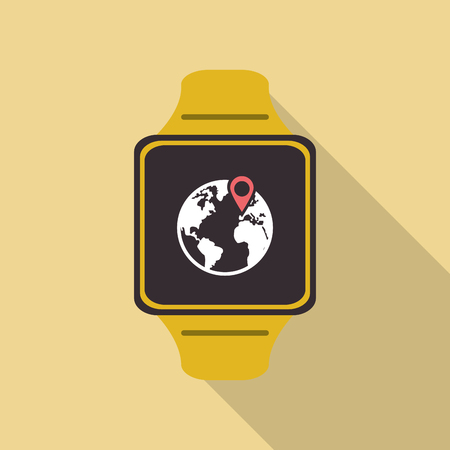 eart: Wearable technology concept represented by watch icon. Colorful and flat illustration. Pastel background Illustration