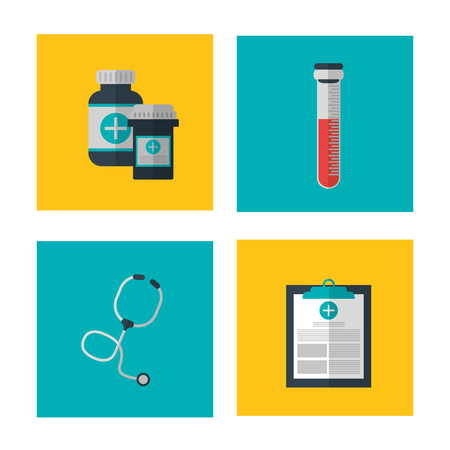 historia clinica: Medical and Health care concept represented by icon set over frame. Colorful and flat illustration.