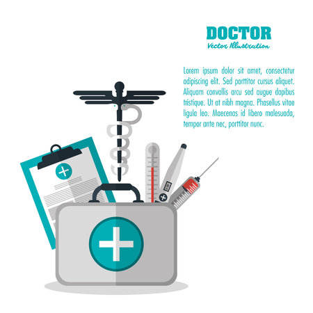 health care concept: Medical and Health care concept represented by  icon set. Colorful and flat illustration.