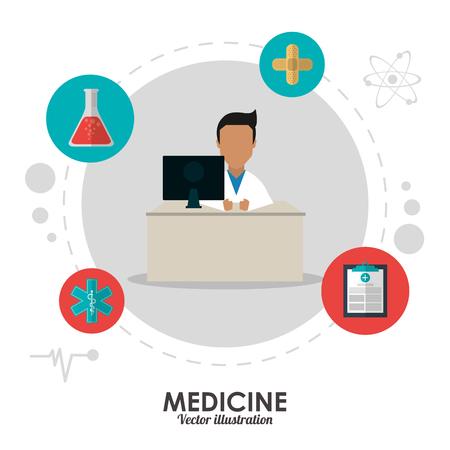 historia clinica: concepto de atención médica y de salud representado por el icono del doctor. Ilustración colorida y plana. Vectores