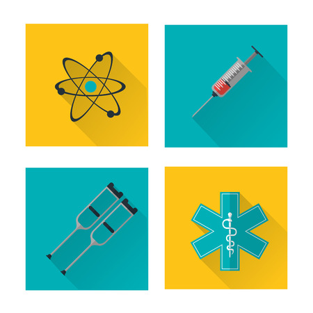 health care concept: Medical and Health care concept represented by icon set over frame. Colorful and flat illustration.