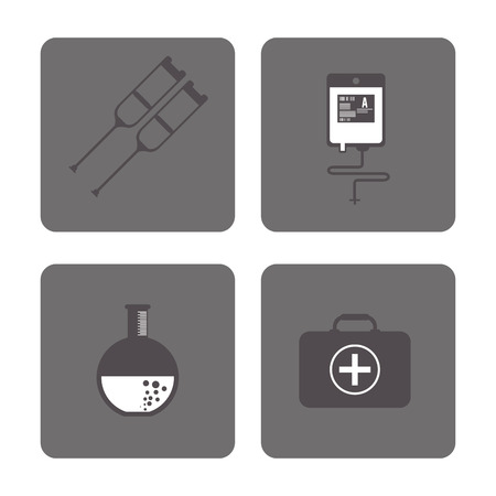 health care concept: Medical and Health care concept represented by icon set over grey frames. Flat illustration.