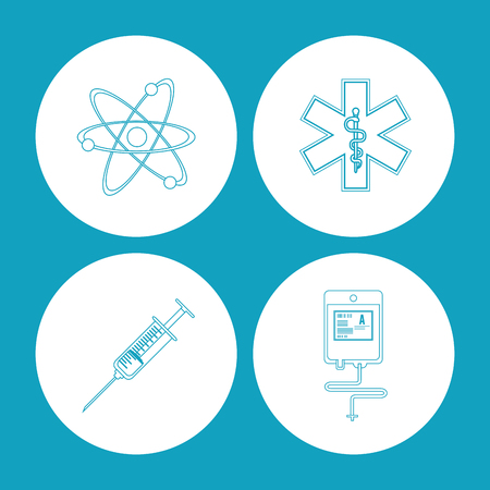 health care concept: Medical and Health care concept represented by icon set over circles. Flat illustration.