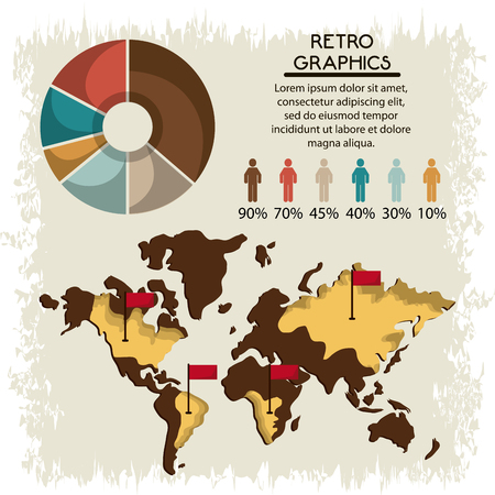 infomation: Retro concept represented by infographics icon over grunge Background. Colorful and flat illustration