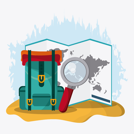 lupe: Time to travel concept represented by baggage, lupe, and map icon. Colorful and flat Illustration