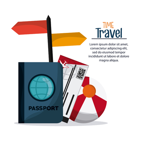 implements: Time to travel concept represented by trip implements icon set. Colorful and flat Illustration Illustration