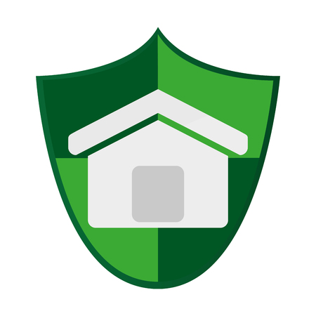 patronage: simple flat design shield with house icon vector illustration