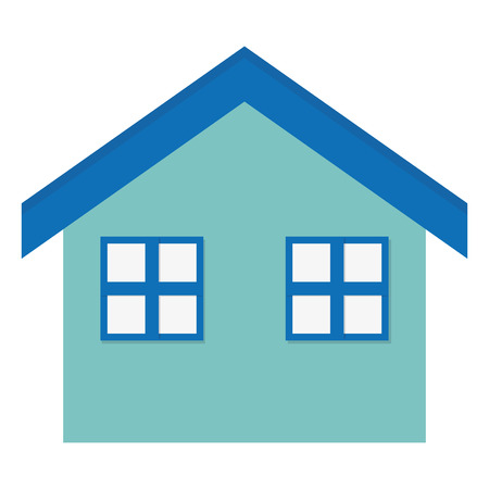 abode: simple flat design house with two windows icon vector illustration Illustration