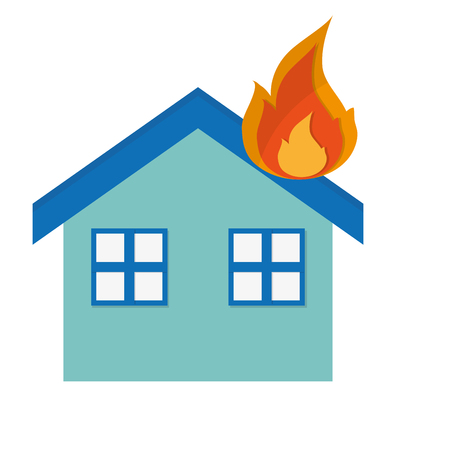 compensation: simple flat design house on fire icon vector illustration Illustration