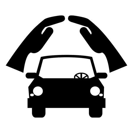 assure: simple flat design car silhouette under sheltering hands icon vector illustration