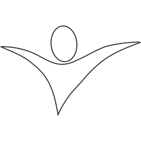 open arms: simple line design abstract human with open arms icon vector illustration