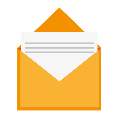 open envelope: simple flat design open envelope with document icon vector illustration