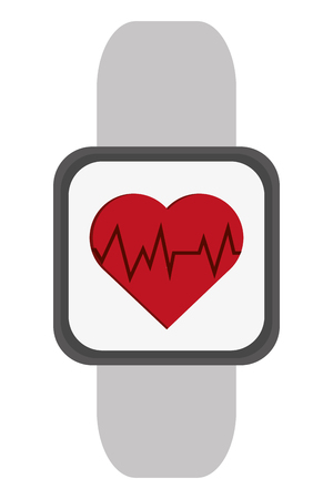 heart rate monitor: simple flat design heart rate monitor wrist band icon vector illustration