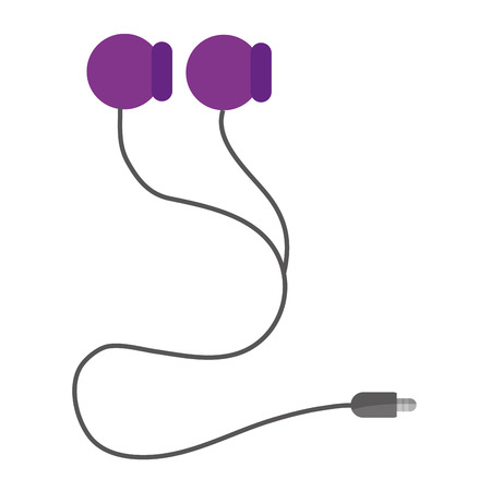 ear bud: simple flat design earphones with cord icon vector illustration