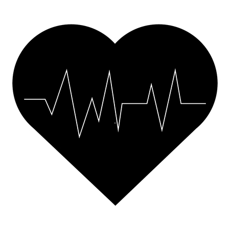 pulsating: simple flat design heart with cardiogram icon vector illustration