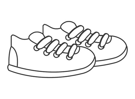 scamper: simple line design sneakers with laces icon vector illustration Illustration