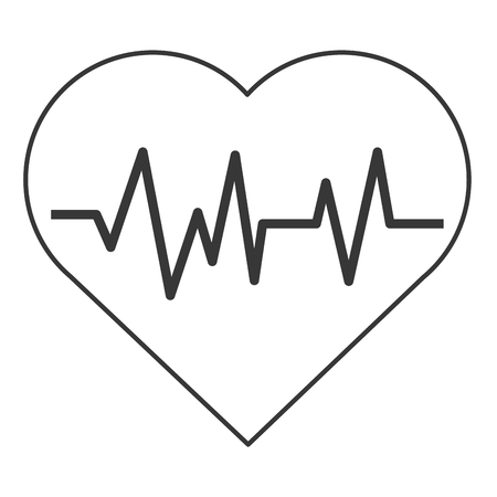 cardiologist: simple flat design heart with cardiogram icon vector illustration