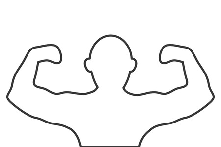 muscular: simple flat design muscular man flexing arms silhouette icon vector illustration