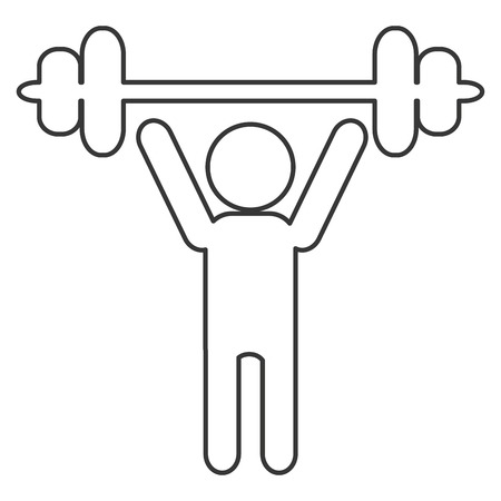 simple flat design person lifting barbell pictogram icon vector illustration