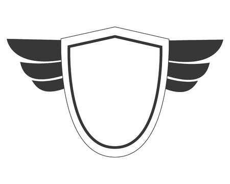 accolade: simple flat design shield with wings icon vector illustration Illustration