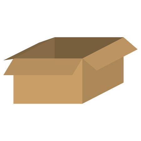 unpacking: simple flat design brown box icon vector illustration Illustration