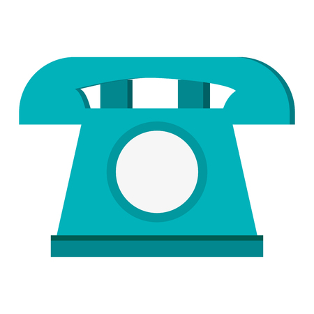 simple flat design classic rotary telephone icon vector illustration