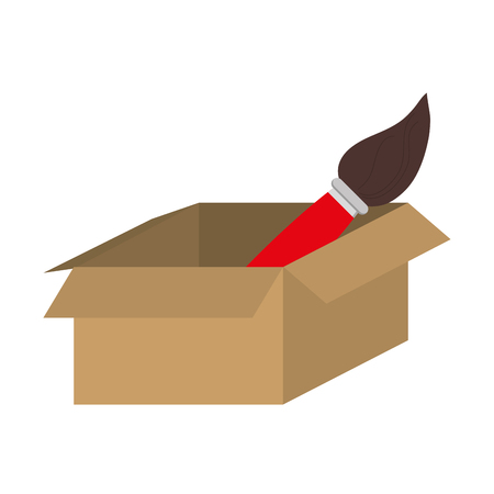 unpacking: simple flat design brown box with paint brush icon vector illustration