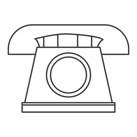 dialplate: simple line design classic rotary telephone icon vector illustration