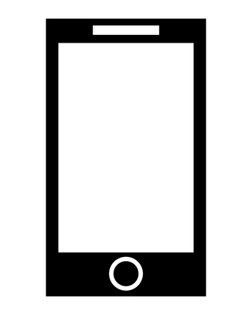 touchscreen: simple flat design cellphone with touchscreen icon vector illustration Illustration