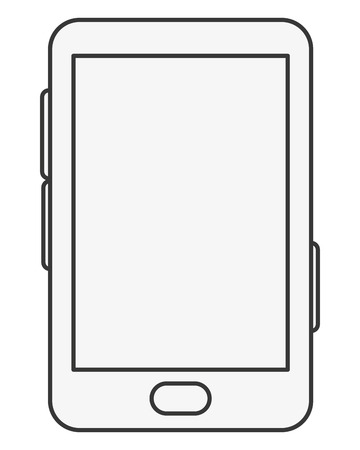 touchscreen: simple line design cellphone with touchscreen icon vector illustration Illustration