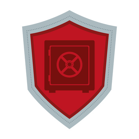safety box: simple flat design shield with safety box icon vector illustration Illustration