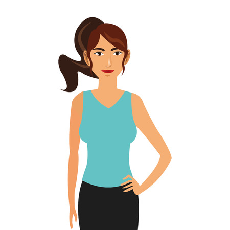 ponytail: simple flat design woman wearing sportswear and ponytail icon vector illustration Illustration