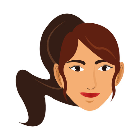 ponytail: simple flat design woman ponytail icon vector illustration