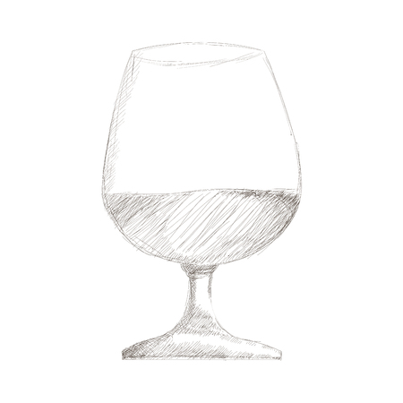 brandy: simple flat design glass of wine or brandy icon vector illustration Illustration