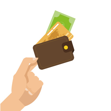 bussiness card: simple flat design hand holding credit or debit card icon vector illustration