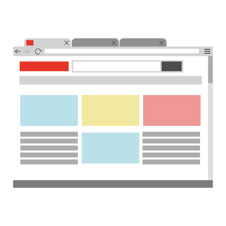 webpage: simple flat design webpage with browser icon vector illustration