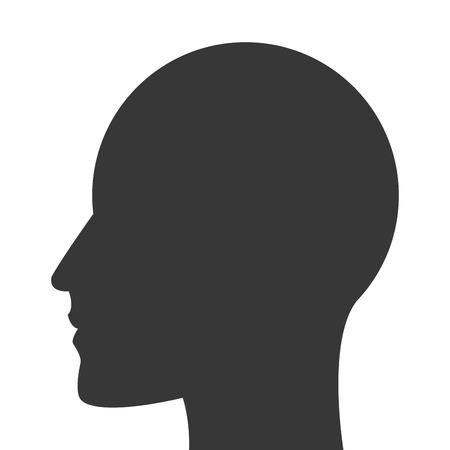 head profile: simple flat design head profile icon vector illustration Illustration