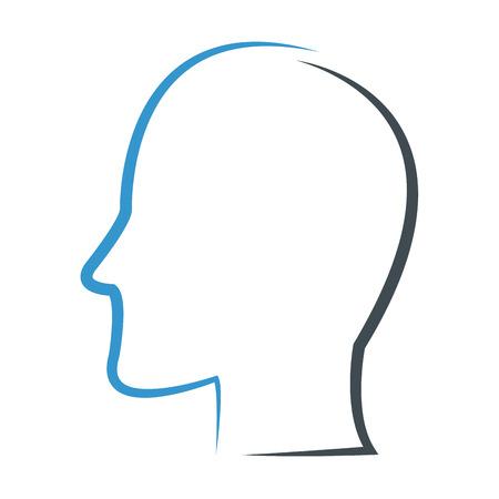 simple flat design head profile outline icon vector illustration