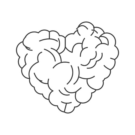 practical: simple flat design heart shaped brain icon vector illustration