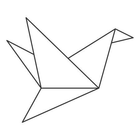 origami bird: simple flat design origami bird icon vector illustration