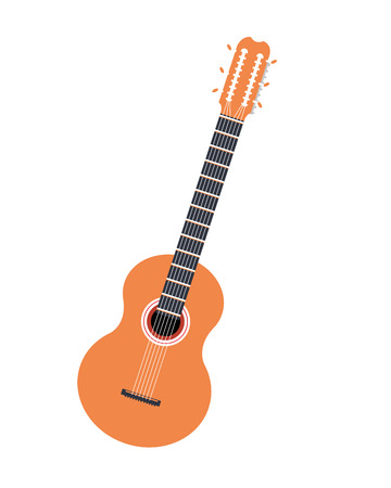 fingerboard: flat design acoustic guitar icon vector illustration