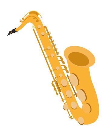 flat design detailed saxophone icon vector illustration Vettoriali