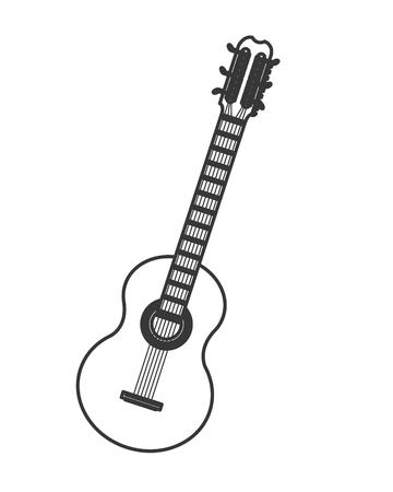 fingerboard: flat design acoustic guitar icon vector illustration