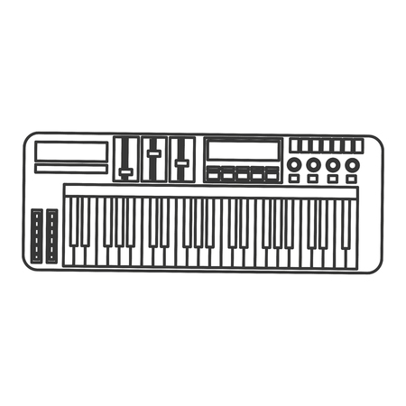electronic piano: flat design electronic piano keyboard icon vector illustration Illustration