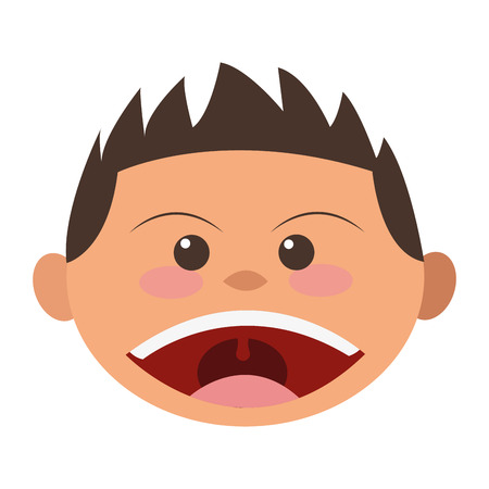 child tongue: flat design face of boy smiling icon vector illustration