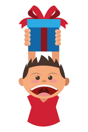 children only: flat design boy holding gift box icon vector illustration
