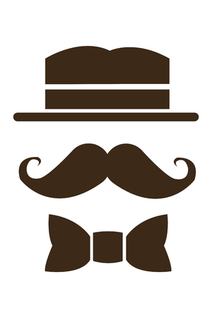 black head and moustache: simple flat design hat mustache and bowtie icon vector illustration Illustration