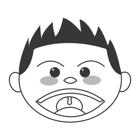 naughty boy: flat design face of boy smiling icon vector illustration