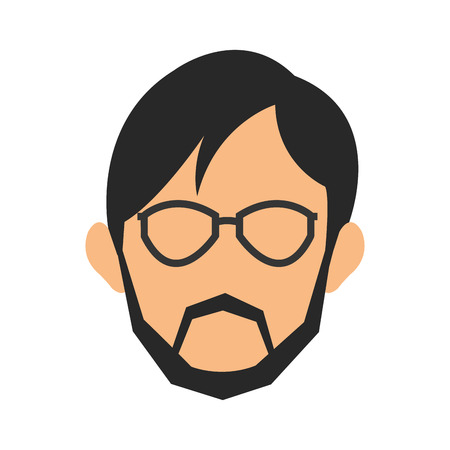 sideburn: simple flat design face of man wearing glasses and beard icon vector illustration Illustration