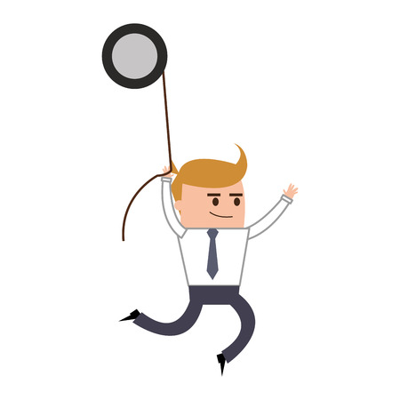 twists: flat design businessman hanging from gear icon vector illustration